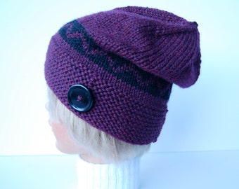 Knit plum hat, purple hat with button, wool hat knit,  hand knit purple beanie, chevron striped hat, purple knit hat, button brim hat
