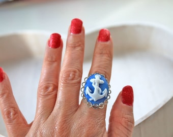 Anchor ring cameo blue white Fantasy Kawaii rockabilly nautical