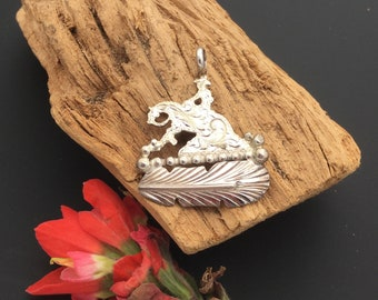 Reining Horse silhouette pendant with a sterling silver feather, Artisan Handmade and Hand engraved, P4