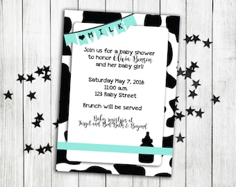 Milk baby shower invitation, baby shower, cow baby shower, milkaholic