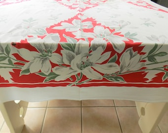 Red Cottage Tablecloth, CUTTER,  Red 1950s Tablecloth, Retro Tablecloth, 1940-50s Tablecloth, Farmhouse Kitchen, Country Kitchen