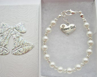 Ivory Pearl Flower Girl Bracelet, Junior Bridesmaid Jewellery, Maid of Honour Honor Wedding Party Gifts