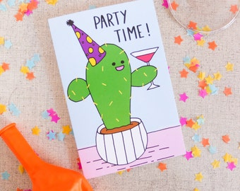 Cactus Card, Party Time Card, Illustrated Greetings Card, Birthday Card, Party Invite, Invitation, Party Card, Fun Card, Silly, Plant Lover