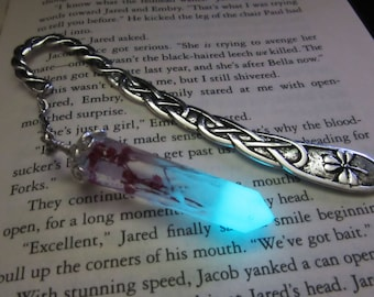Real flower /Silver bookmark glow in the dark