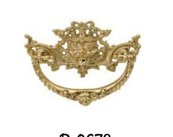 """Drawer Pull- Victorian Style """"Green Man"""" Cast Brass DRAWER PULL"""