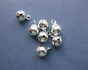 25 Jingle Bell Charms - Jingle Bell Pendants - Jingle Bells - Bells - Silver Bells - Bright Silver - 11mm x 8mm -- (No.104-10221)