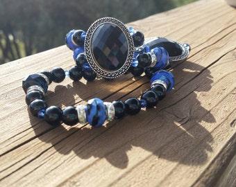Black and Blue Beaded Bracelet - Thin Blue Line - Law Enforcement Support - Chunky Statement Bracelets - Set of 2