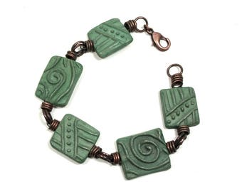 BRACELET, One of a Kind, Handmade Rectangular Blue Green Colored Porcelain Beads, Reversible, Copper Accents, Large Round Lobster Closure