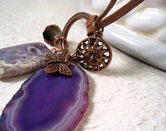 Butterfly Necklace / Purple Agate Necklace / Charm Talisman / Agate Slice / Fantasy Nature Sun / Copper Suede