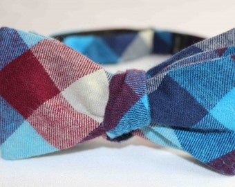 Dorman Check Bow Tie - Blue/Burgandy