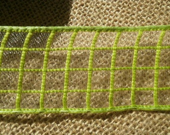 Synthetic Ribbon, checked pattern, green, 3.7 cm wide