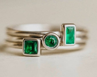 May Birthstone Ring, Sterling Silver Stack Rings, Green Stone, Emerald Ring, May Birthday Gift, Stacked Rings, Stacking Ring, Silver Rings