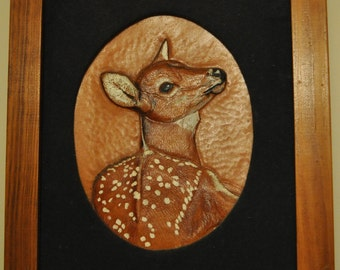 Hand Carved and Embossed Whitetail fawn picture