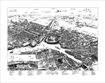 """Ottawa Ontario in 1876 Panoramic Bird's Eye View Map by Herman Brosius 22x17"""" Reproduction"""