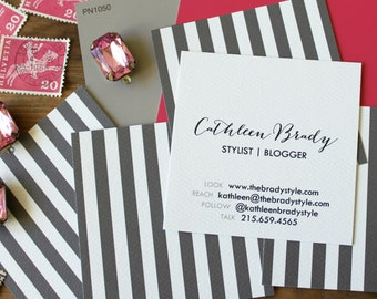 Striped  Calling Cards / Business Cards / Blogger Cards - Set (50)
