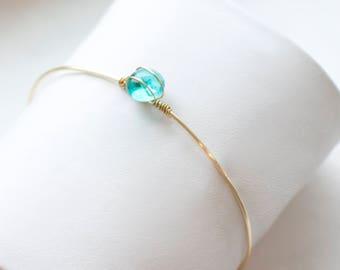dainty glass stone gold wire bracelet