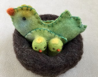 Mama and baby birds in a nest set Nature table ready to ship