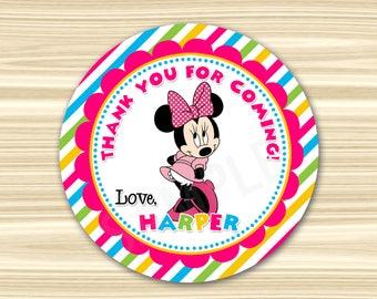 Minnie Tag. Minnie Mouse Favor Tag. Minnie Mouse Thank You Sticker. Minnie Sticker. Minnie Favors. Diy Minnie Birthday. 2.5 inch Circle