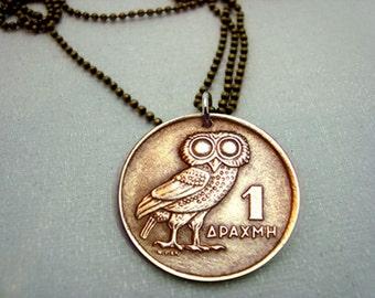 Owl Coin Necklace - Vintage OWL of Athena COIN NECKLACE - 1973 Greek coin - phoenix necklace - bronze owl coin - Athena owl - mens necklace