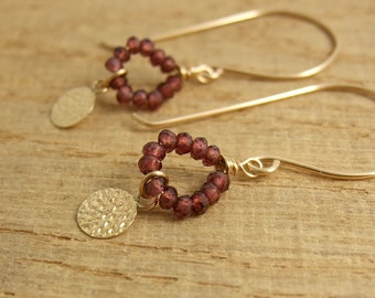 Earrings with Tiny Garnets and Hammered Discs on 14k Gold-Filled Earring Wires GHE-37