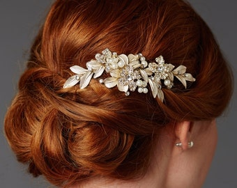 Crystal and Pearl Floral Bridal Hair Comb In Champagne Gold Or Silver, Wedding Hair Comb, Crystal Hair Comb, Bridal Headpiece