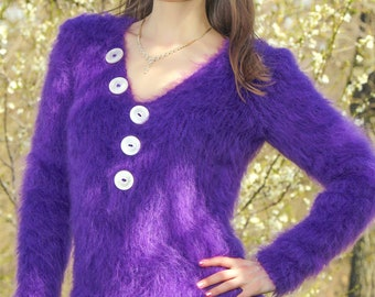 Fuzzy purple mohair sweater hand knitted V neck fuzzy top blouse by SuperTanya