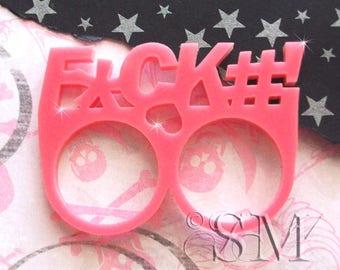 F*CK#! - double ring, bubblegum pink, laser cut acrylic, kitsch, punk rock
