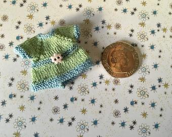 Dollshouse 1/12th miniature hand knitted toddler doll Dress