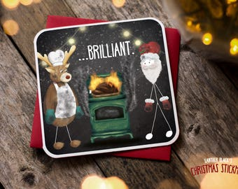 Funny Christmas Card / Christmas Card / Funny Holiday Card / Funny Rudolph Card / Funny Santa Card / Christmas Dinner / Brilliant / XS14
