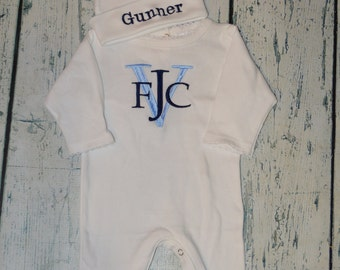 Personalized Baby Sleeper Romper and Cap set Monogrammed Coming Home Outfit