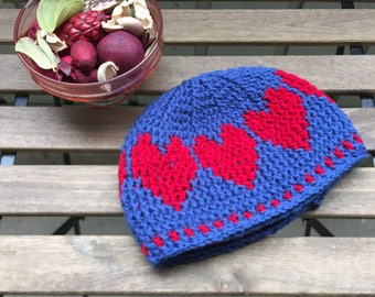 Winter Hat, Love Pattern, Valentine, Handmade, Crochet, READY to ship, Warm, Gift, Beanie Hat, Love, Soft Acrylic, Gift for her, Cute