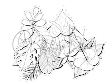 2 Coloring Pages l Tropical  Flowers