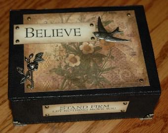 Handmade Keepsake Box 'BELIEVE'  Vintage Designed - Microsuede