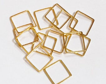 50 pcs of Gold plated brass square links 12mm