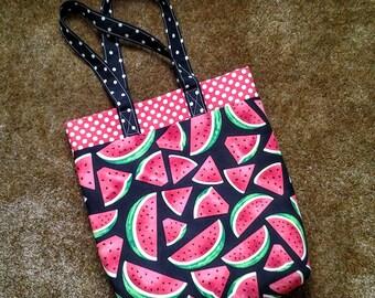 Watermelon Tote Bag / Watermelon Market Bag / Watermelon Shopping Bag, Red with White Polka Dots Interior