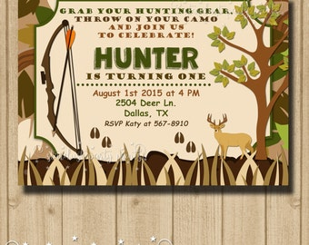 Andrea curtis on etsy hunting birthday invitation camo birthday invitation hunting invitation filmwisefo