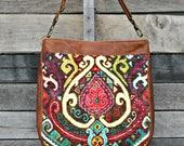 Crossbody Bag,Boho Fabric, Leather Crossbody Bag, Handbag, Purse, Shoulder Bag, Boho, Large Crossbody Bag, Women's