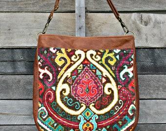 Crossbody Bag, Boho Fabric, Genuine Leather, Everyday Purse, Shoulder Bag, Adjustable Strap
