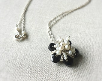 Black Spinel & Freshwater Pearl Blossom Necklace: Sterling Silver Wrapped Faceted Black Spinel Petals with Wrapped Pearl Clusters Valentine