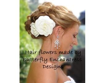 2 Pale Ivory Gwyneth Gardenia Bridal Hair Flower Clips