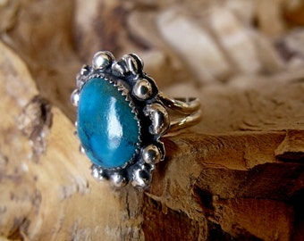 Sterling Silver Hand Engraved Ring with Turquoise Stone RF697