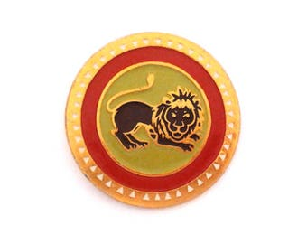 Lion - vintage soviet pin badge, animal, made in USSR, 1970s.