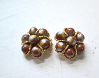 1950s Kramer Bead Clip Earrings