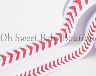 "1.5"" Baseball Thread Grosgrain Ribbon"
