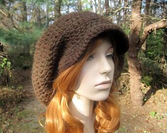 Crochet Hat, Crochet Slouchy Hat, Crochet Womens Hat, Newsboy Hat, Womens Chunky Hat, Womens Fashion, Crochet Toque, Womens Beret, Brown