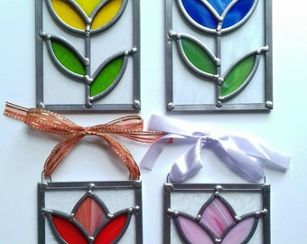 Traditional technique, handmade stained glass tulip panel.
