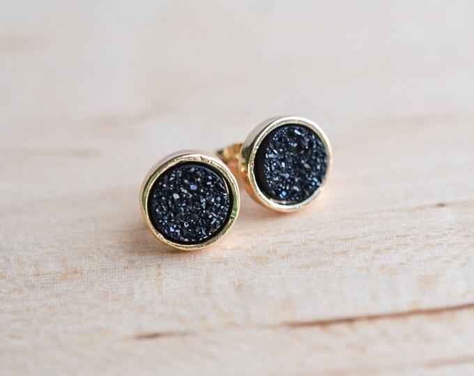 Black Druzy Earrings - Midnight Druzy Earrings - Gold druzy - Sparkly earrings - Onyx Druzy Earrings - Sparkling Druzy