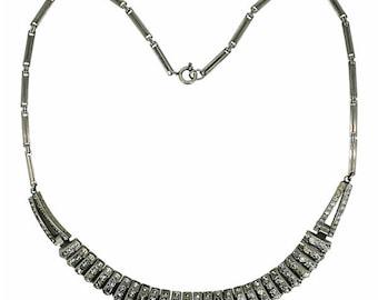 1920s Art Deco Channel Set Rhinestone Vintage Necklace
