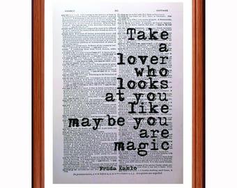 Frida Kahlo quote  - dictionary page art print home decor present gift home decor