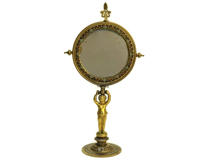 Antique French Champleve and Brass Cherub Standing Makeup Mirror. Looking Glass. Vanity and Boudoir Decor. Gifts for Her
